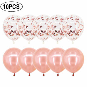 "10x Rose Gold CONFETTI LATEX BALLOONS Helium Large 12"" Bday Party Wedding Event"