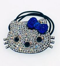 USA Hello Kitty Hair Rope Band use Swarovski Crystal Ponytail Holder Cat Blue