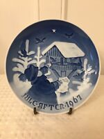 Vintage 1967 BING & GRONDAHL B&G Blue/White Christmas Collectors Plate Denmark