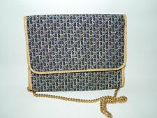 Authentic Christian Dior Vintage Evening Bag In Navy & Gold