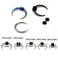 Round Tapered Septum Nose Ring Hoop Pincher Body Piercing Jewelry 14g,16g