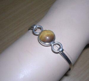 Sterling Silver Tiger's Eye Bangle Bracelet 10 Grams