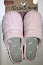 Dearfoams Clog PINK Slipper Knit Upper Women's Gray lined (7-8) (9-10) Hard sole