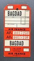 AIR FRANCE BAGDAD VINTAGE ORIGINAL AIRLINE BAG TAG LUGGAGE BAGGAGE LABEL AF IRAQ