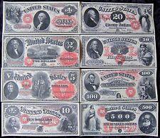 1878 $1 $20 $100 1875 $2 $5 $10 $500 1874 $50 Large Copy Reprint Fronts