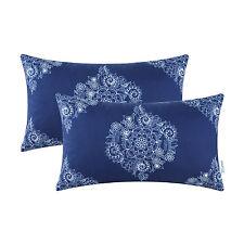 2pcs Vintage Mandala Floral Navy Blue Cushion Cover Bolster Pillow Cases 30x50cm