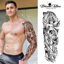 FULL SLEEVE ARM TEMPORARY TATTOO REALISTIC DRAGON SLAYER, DAGGER, MENS, WOMENS