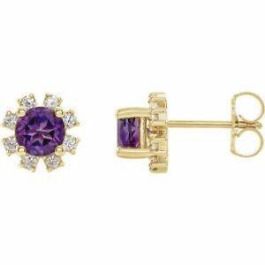 Amethyst & 1/2 CTW Diamond Earrings In 14K Yellow Gold