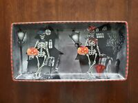 222 Fifth Dapper Skeleton Halloween Serving Platter / Candy Dish - Porcelain
