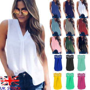 Womens Summer Chiffon T Shirt Sleeveless Blouse Ladies V neck Top Tee Size10-20