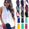 UK Womens Summer Chiffon T Shirt Sleeveless Blouse Ladies Lace Top Tee Size10-20