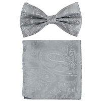 New formal men's pre tied Bow tie & hankie set paisley pattern silver wedding