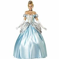 LADIES ADULT CINDERELLA PRINCESS BALL GOWN FANCY DRESS COSTUME 8 10 12 14 16 18
