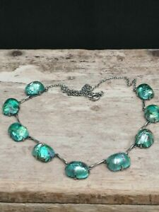 Vintage Green Foiled Glass Panel Necklace. Iridescent. Fire. Art Deco.