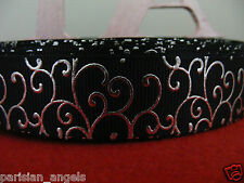 "7/8"" (22mm) Foil Printed Grosgrain Ribbon -By the Metre- #4445 Black & Silver"