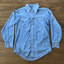 Vintage Big Mac Chambray Work Chore Shirt Fitted Medium 1970s