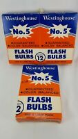 Vintage Westinghouse No. 5 Flashbulbs. 17 bulbs total. 2 NIB, 1 open w/5 bulbs