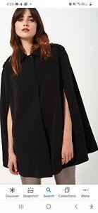 Miss selfridge Black Cape jacket S 10-12