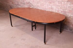 Michael Taylor for Baker Furniture Cherry Wood and Black Lacquer Dining Table