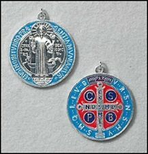 Protection Enamel Silver Gild Saint St Benedict Medal Religious Catholic Gift