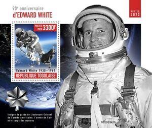 ED WHITE NASA Astronaut Gemini 4/1st US Spacewalk Space Stamp Sheet (2020 Togo)