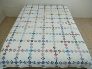 Vintage Hand Pieced & Quilted Feed Sack NINE PATCH ON TIP, Irish Chain Quilt