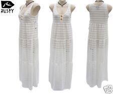 Rusty Ladies White Maxi Dress Size 12 Long Net Gypsy Surf Beach Wear New RRP$90