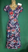 New MONSOON 10 12 14 Blue Red White Floral ALAYA Jersey Fit&Flare MIDI Day DRESS