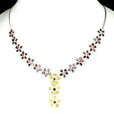 Gracefully Natural Mozambique Garnet Citrine 925 Sterling Silver Flower Necklace