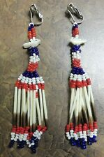 Porcupine Quill Earrings ~ Native American Quill, Bead & Fetish Shoulder Dusters