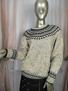 Icelandic Folk Wool Blend  Nordic Fairs Isle Winter Jumper Sweater Size Medium12