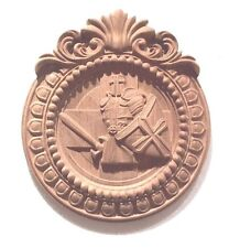 Hand Carved Cherry Wood Coat of Arms Wall Sculpture