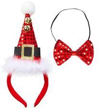 Set natalizio cerchietto e papillon cappello babbo natale