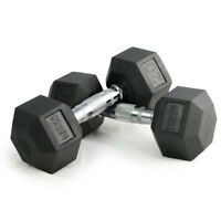 3-100lb Pair Rubber Coated Hex Dumbbells For Strength Training