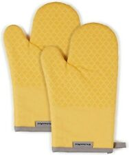 New listing KitchenAid Asteroid Cotton Oven Mitts with Silicone Grip Set of 2 Yellow 2