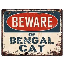 PP1542 Beware of BENGAL CAT Plate Rustic Chic Sign Home Room Store Decor Gift