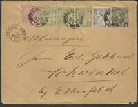 MONACO TO GERMANY 1896 POSTAL STATIONERY + 4 STAMPS VF