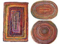 RAJRANG Cotton Chindi Rag Rug Round Hand Braided Bohemian Colorful Area Rug