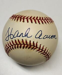 🟠 MLB Hank Aaron signed (blue ink) Auto official Rawlings baseball BRAVES