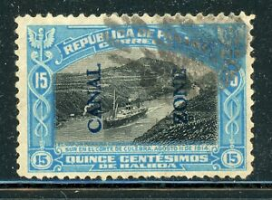 CANAL ZONE Used Selections: Scott #50 15c Bright Blue/Black TYPE II CV$17+