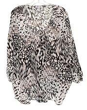 Jennifer Lopez Leopard Print in Dark Brown & White Button Top Blouse Plus Sz 1X