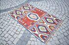 Turkish Kilim Rug 41'' x 68'' Anatolian Wool Kilim Bohemian Kilim High Quality