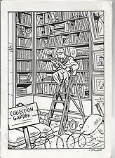 CHALAND. Collection gardée. Carte de voeux 1993 pour une librairie Dessin inédit