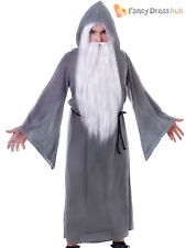 Adults Grey Wizard Cloak Halloween Gandalf Dumbledore Fancy Dress Costume Outfit
