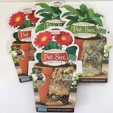 """New Pot Sox Flower Stretch Fabric Covers Stone 10"""" pots Reusable Lot Of 4 Brown"""