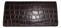 NEW ITALIA LEATHER CROC EMBOSSED CLUTCH CREDIT CARD ID WALLET BROWN
