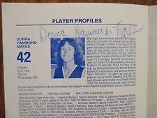 1982-83 UC Riverside Women's Basketball Media Guide(14 Sign/DONNA  HAMMOND-MARES