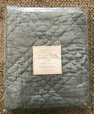 Restoration Hardware Belgian Linen Diamond Stitch Euro Pillow Sham Silver Sage