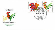 Aitutaki Cook Isl 2016 MNH Year of Monkey 2v Cover Chinese Lunar New Year Stamps