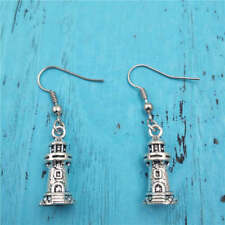 Lighthouse earrings,Silver handmade ear stud,Fashion charm jewelry pendants,Gift
